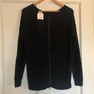 Women's Black Zipper Back Cozy Sweater NWT